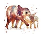 ELEPHANT watercolor print