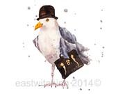 SEAGULL Art Print, Boss Gift, seagull painting, bird art