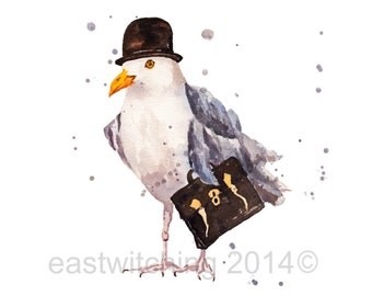 SEAGULL Art Print, Boss Gift, seagull painting, bird art