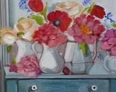 Cottage, Farm Fresh Bouquet, Artist Trading Cards, Fine Art Reproduction, ACEO, Blue and White, Farmhouse Decor, Floral, Cottage Furniture