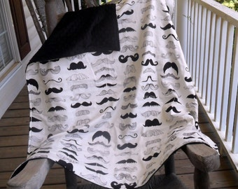Large Where's My Stache? Mustache and Black Minky Dot Blanket