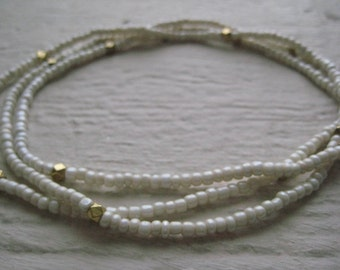 Ivory & Gold Bead Necklace-  Gold, Cord, Glass Seed Beads, Boho, Brass