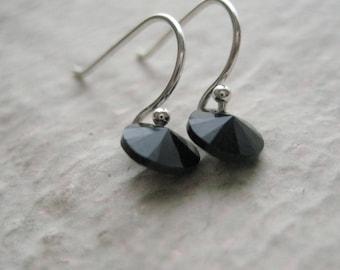 Jet Black Crystal Earrings- Sterling Silver, Swarovski, Gift, Wire, Dangle, Modern