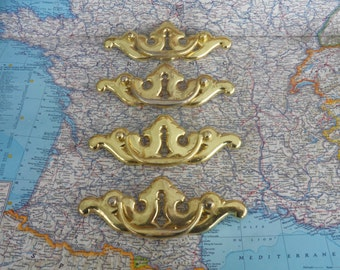 SALE! 4 wide vintage shiny brass metal pull handles w/faux keyholes*