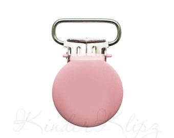 "10 Baby Pink Round Enamel Suspender Clips DIY 7/8"". paci holder clips. baby pacifier clips. mitten clips. dummy clips. bib clips #293024"