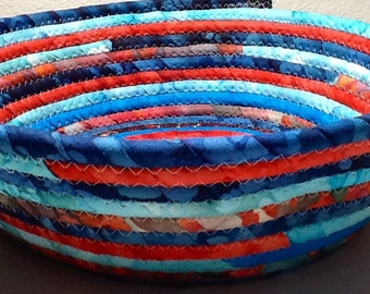 Large Bohemian Coiled Fabric Cotton Basket or Bowl or Pet Bed - Turquoise Orange Green Blue - Storage and Organization handmade