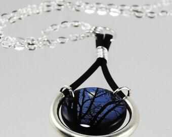 midnight moon resin necklace, full moon , trees at night , midnight blue necklace