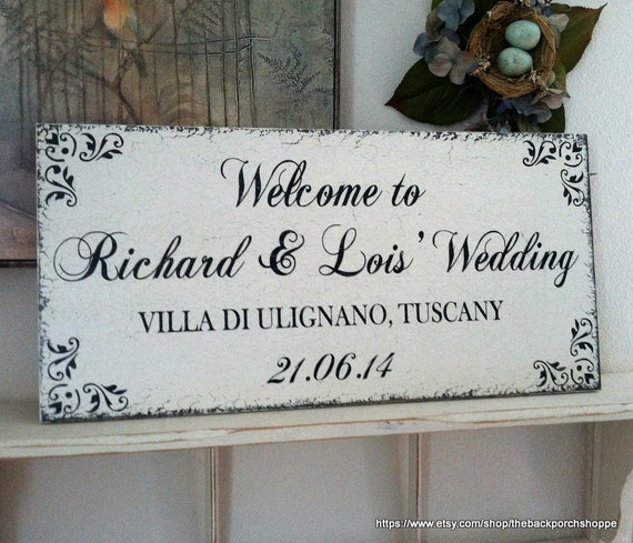 Wedding Sign, WELCOME to OUR WEDDING, Bride and Groom Signs, Mr. and Mrs. Signs, 12 x 24