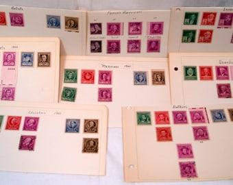 Vintage postage stamps Famous Americans Inventors Authors Scientists Musicians Artists Poets Educators USPS