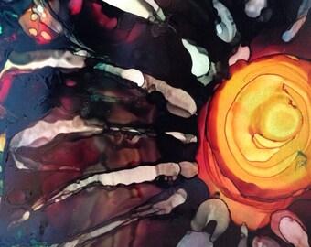 Giant Flower Original 7x5 Alcohol Ink Painting on Yupo