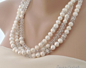 Ivory Freshwater Pearl Necklace, brides, bridesmaid gift , MOH , special occasion