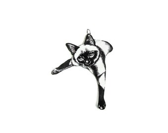LOUNGING CAT Small Pendant Necklace Free Shipping to USA Gifts for her