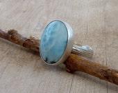 Larimar ring, Oval larimar Cocktail ring, sky blue Gemstone ring, wonderful larimar statement ring
