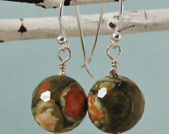 Rhyolite Earrings Rainforest Jasper Green Earrings Sterling Silver