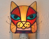 Cat, Stained Glass Night Light.