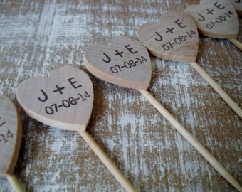 Wedding Food Picks or Cupcake Toppers Personalized Hearts - Set of 25 - Item 1578