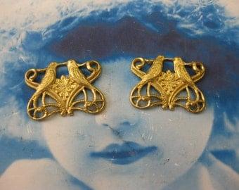 Raw Brass Kissing Love Bird Filigree Connectors 779RAW x2