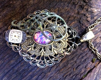 "Steampunk Victorian Scrollwork, Filigree, and ""fire opal"" necklace"