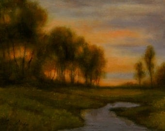 Original Oil Painting EVENING'S CALL 12x16