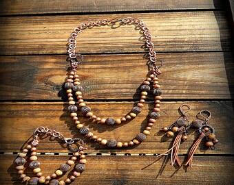 ON SALE- Dusty Rose, Western Cowgirl Southwestern Boho Leather & Ceramic Necklace Set