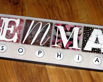 """NAME with Knobs for your toddler or little GIRL- Giclee MoUNTED prints- custom made to order in ANY theme- middle name on knobs 8"""" x 24"""""""