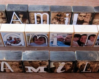 Bridal Package- Personalized Photo Blocks- Wedding Party and PARENT GIFTS- Flat Rate Box 1- up to 24 blocks