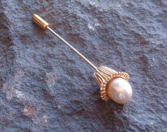 Pin, Fashion Pin, Vintage Pearl and Gold Tone Floral Straight Pin, Brooch Stick Pin, Vintage Stick Pin