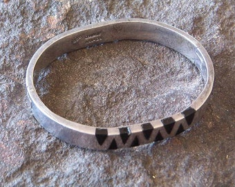 Bracelet, SS Bracelet, Vintage Sterling Silver Bracelet with Black Inlay