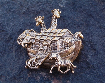 Brooch, Pin, Fashion Pin, Vintage Noah's Ark Antique Gold Tone Brooch