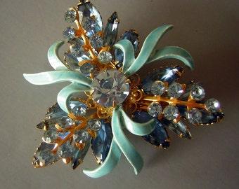 Vintage Blue Brooch Pin Riveted Rhinestones Enamel Flourish 3 Dimensional Construction