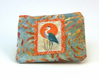Zippered Pouch iPod Case Coin Money Holder Small Gadget Pouch Blue Heron Made in the USA