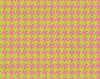 Clearance SALE!!!  RBD, Houndstooth T/T Lime/HotPink (C980-18) - 1 yard