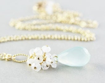 Aqua Chalcedony Necklace, Moonstone Gold Necklace, Mint Necklace, Bridesmaid Gift