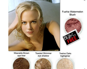 Nicole Kidman, Get the Look, wearable brown eyeliner, Toasted shimmer eye shadow, Twelve Oaks highlighter, FREE Fushia Watermelon Blush.