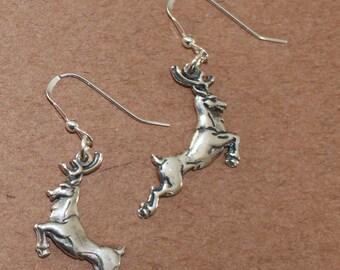 Earrings - Sterling Silver 3D STAG - Deer, Celtic, Totem