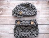 Baby Newsboy Hat, Crochet Baby Hat, Baby Diaper Cover and Hat, Baby Beanie, Infant Newsboy Hat, Newborn Diaper Cover, Baby Boy Hat, Grey