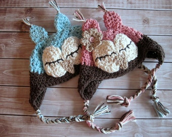 Twin Baby Hat Set, Crochet Baby Hats, Twin Baby Hats, Twin Owl Hats, Baby Boy Hat, Baby Girl Hat, Newborn Twin Hats, Infant, Blue, Pink