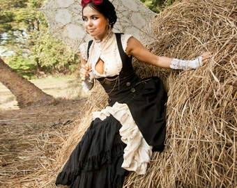 PIRATE WENCH DRESS - Steampunk Steam punk Hippie Boho Halloween Costume Corset Organic Cabaret Burlesque Dance Burning man - Black Off white