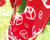 Peace Red  and White Water Bottle Carrier For Kids