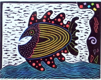 "Linocut. hand pulled "" My happy fish "". hand colored print. printmaking."