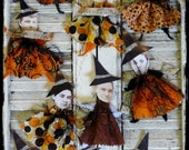 Halloween Witch ornies pattern PDF - fall primitive spooky collage sheet tags ornaments chenille stem