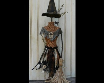 Halloween Witch Mannequin Dress Form Pattern PDF -  primitive