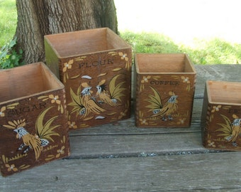 Mid Century Wooden Canister Set of 4 No Lids Fighting Cock Roosters