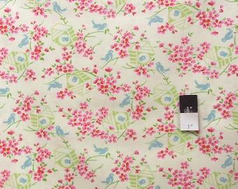 Tanya Whelan PWTW047 Sugar Hill Birdy Ivory Cotton Fabric 1 Yard