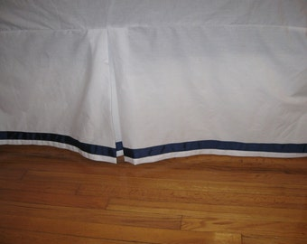 COTTON Bedskirt - TWIN Size with  Ribbon Trim and Kick Pleat on each side