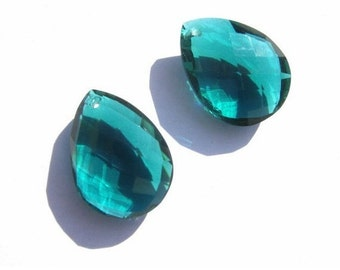 2Pcs 1 Match Pair -  Front to Back Drilled AAA Teal Green Quartz Faceted Pear Briolettes Size 21x16mm