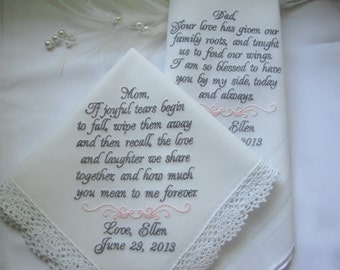 Wedding Handkerchiefs Personalized for Mother and Father of the Bride