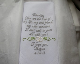 Personalized Wedding Handkerchief From Bride to Groom