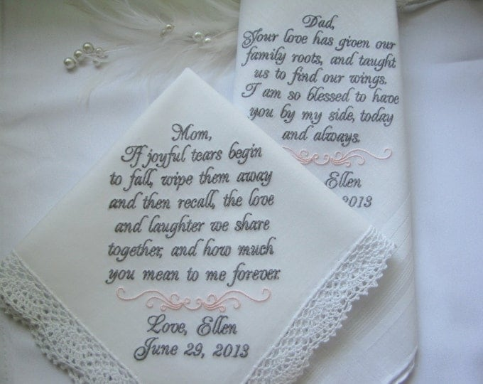 Set of two Wedding Handkerchiefs, Mother of the Bride,  Father of the Bride,  Bride, Wedding Handkerchief, Wedding Hankies,
