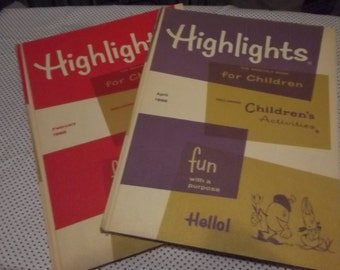 A Pair of Hardback 1965 Highlights For Children - February and April